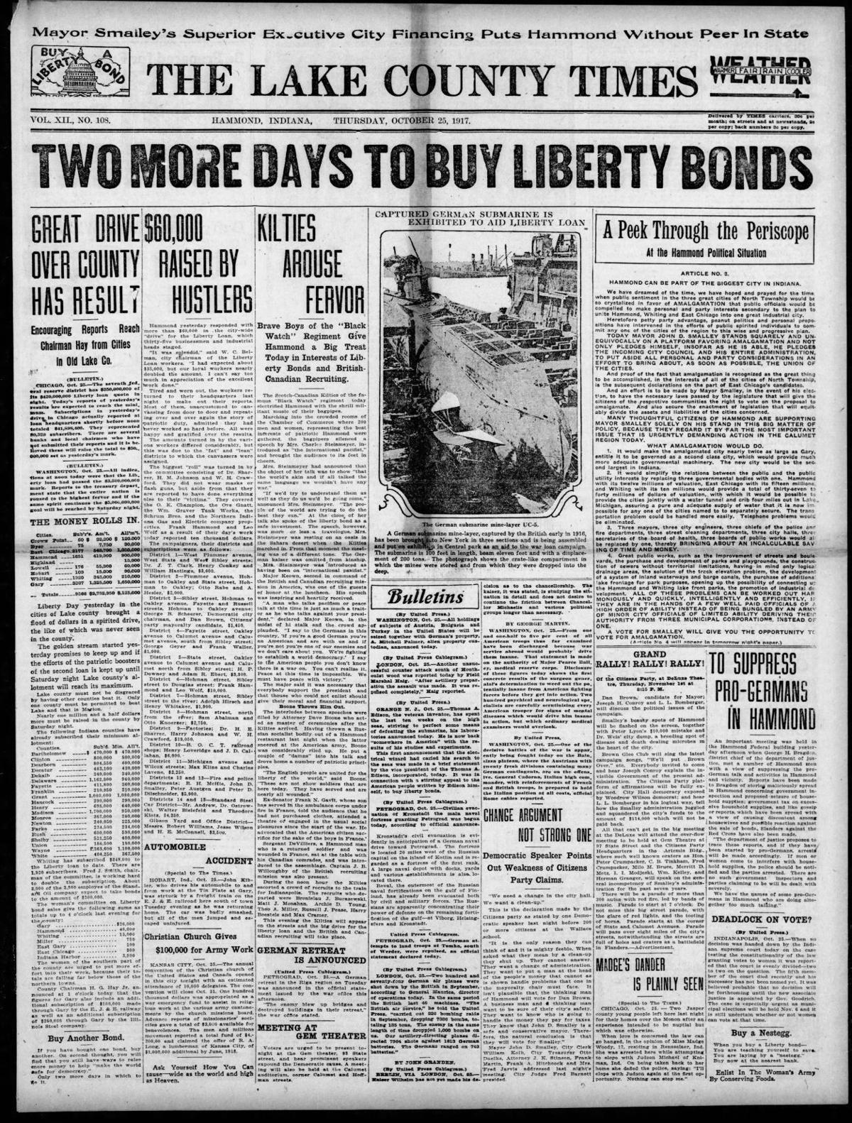 Oct. 25, 1917: To Suppress Pro-Germans in Hammond