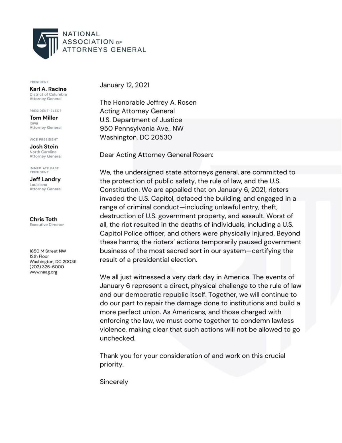 National Association of Attorneys General letter on U.S. Capitol attack
