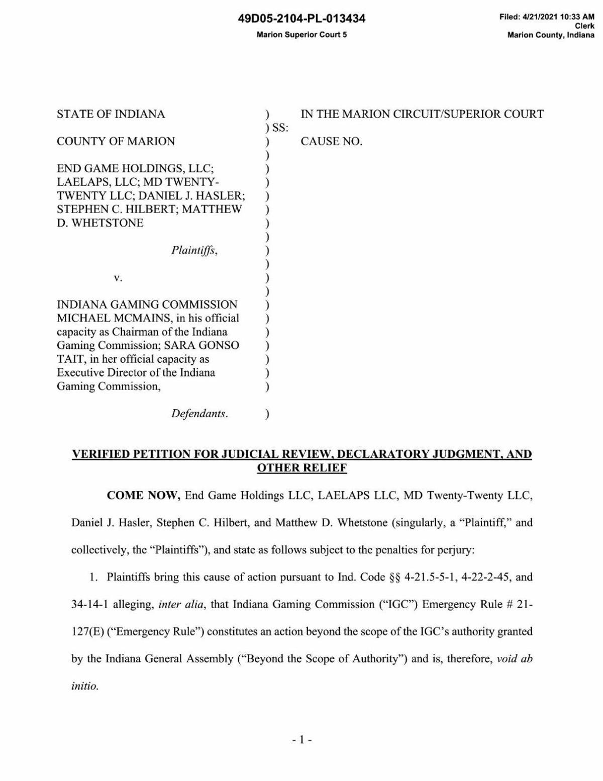 Petition in End Game Holdings, et. al. v. Indiana Gaming Commission