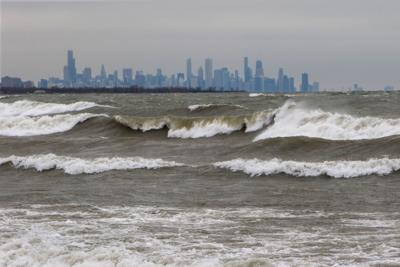 high waves along the lakefront in nwi FILEE