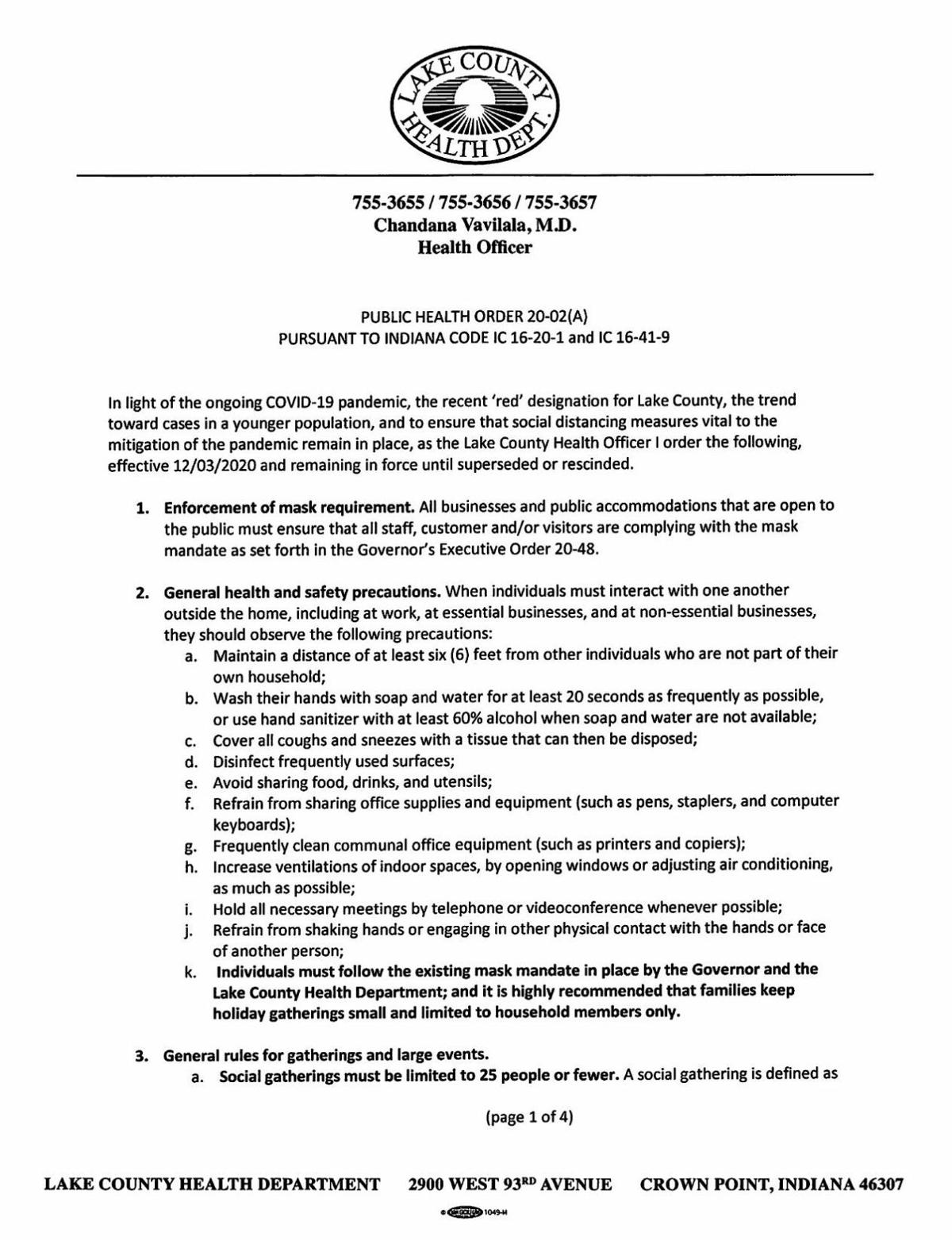Lake County Public Health Order 20-02 (revised 12/3/20)