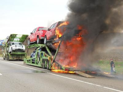 Car hauler catches fire on I-94