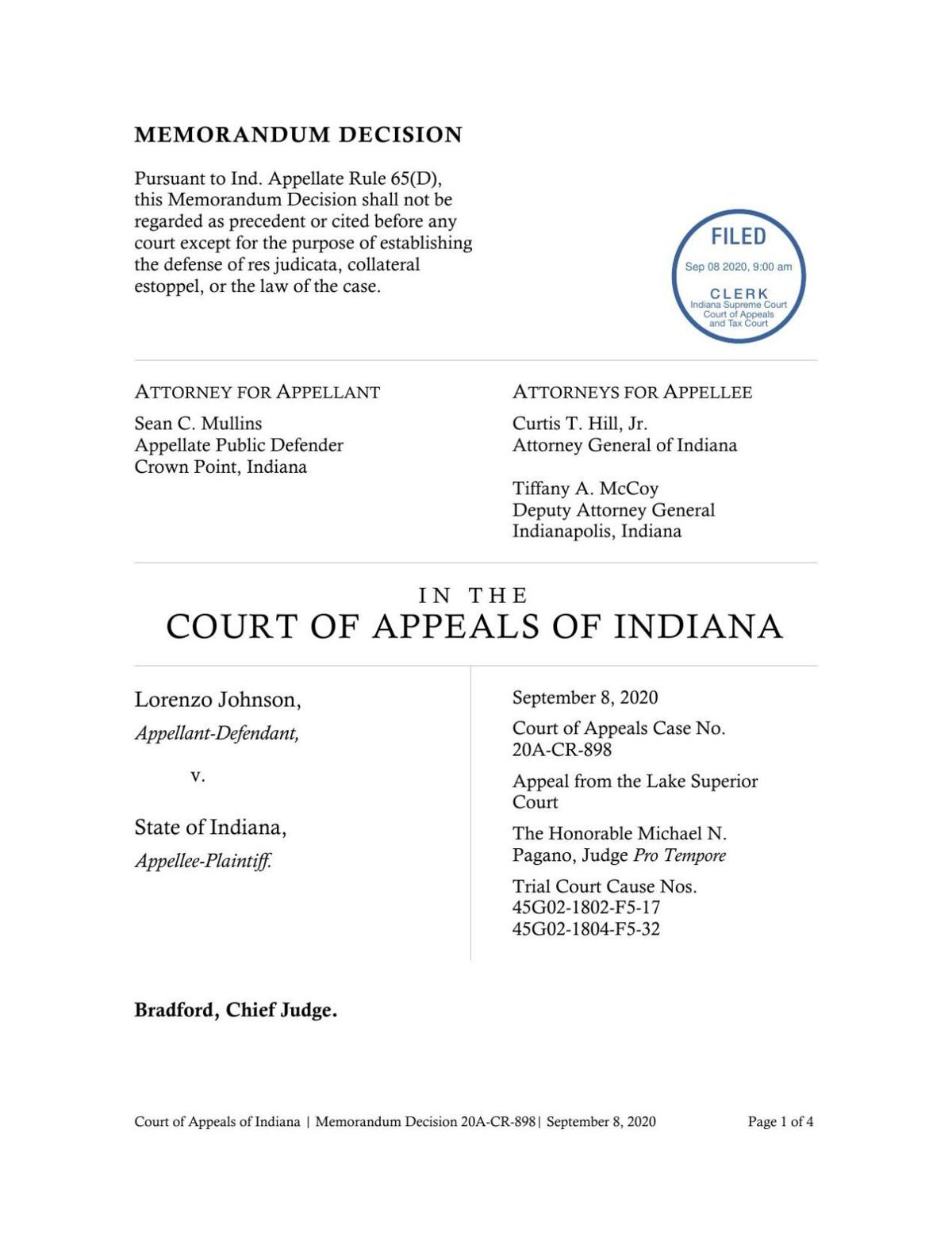 Johnson v. State ruling of Indiana Court of Appeals