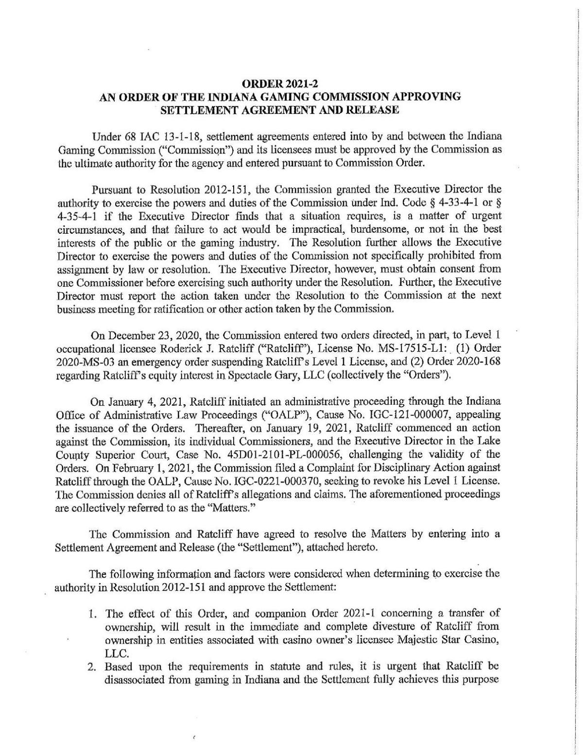 Gaming Commission settlement agreement with Rod Ratcliff