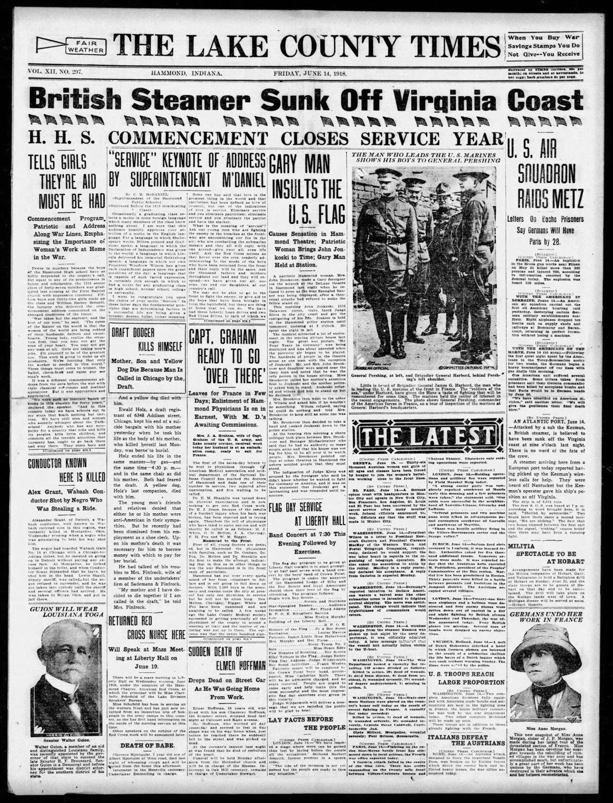 June 14, 1918: Gary Man Insults The U.S. Flag