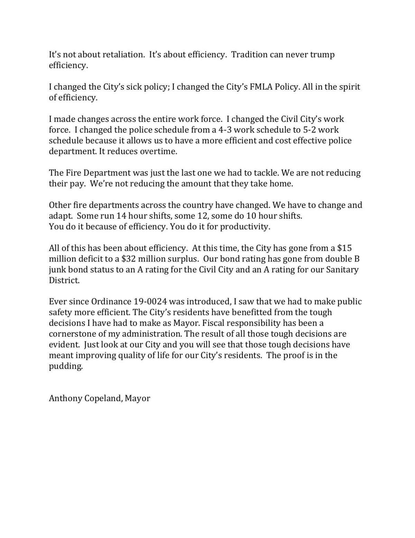 Statement from Mayor Copeland