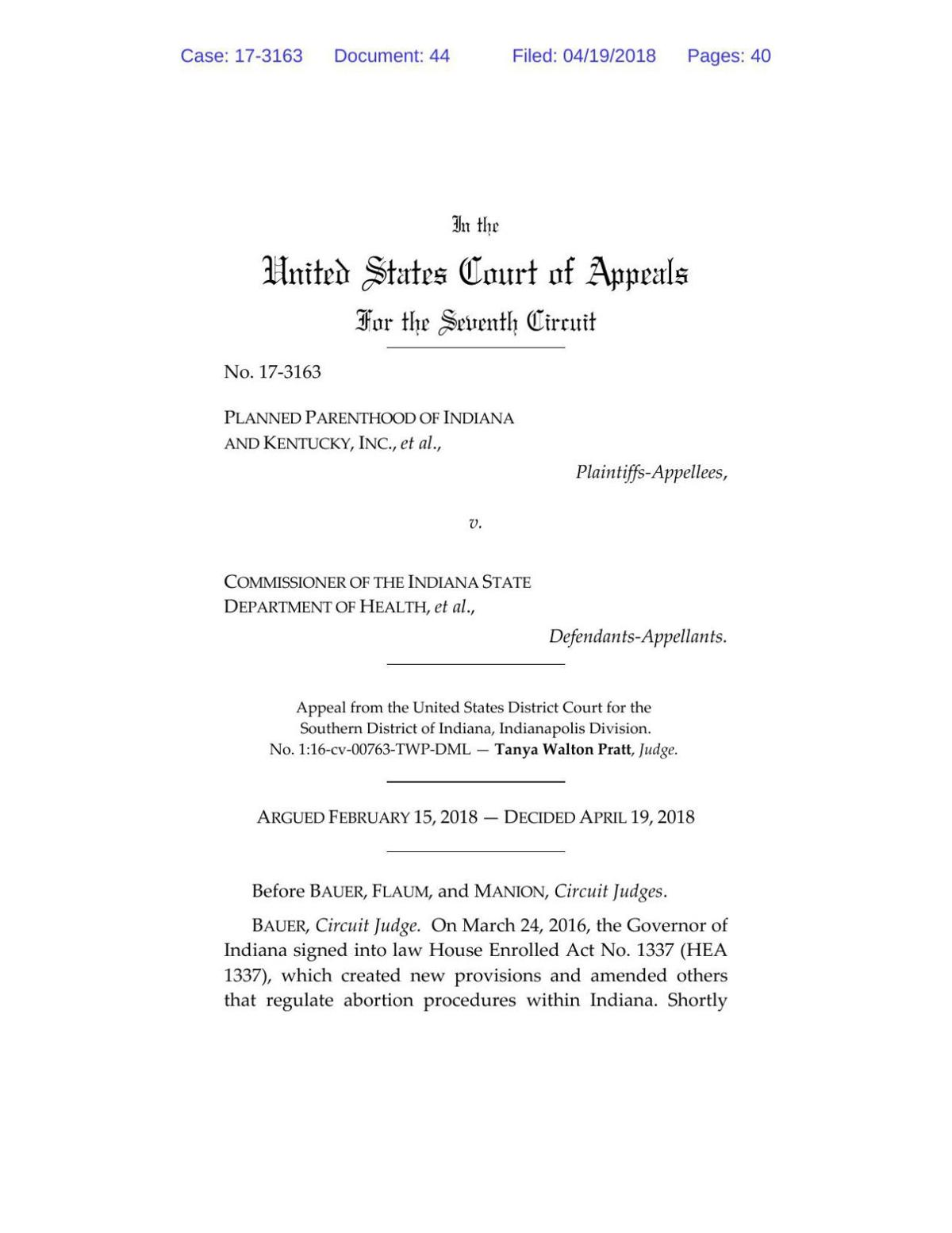 PPINK v. Indiana Health Commissioner ruling of 7th Circuit Court of Appeals