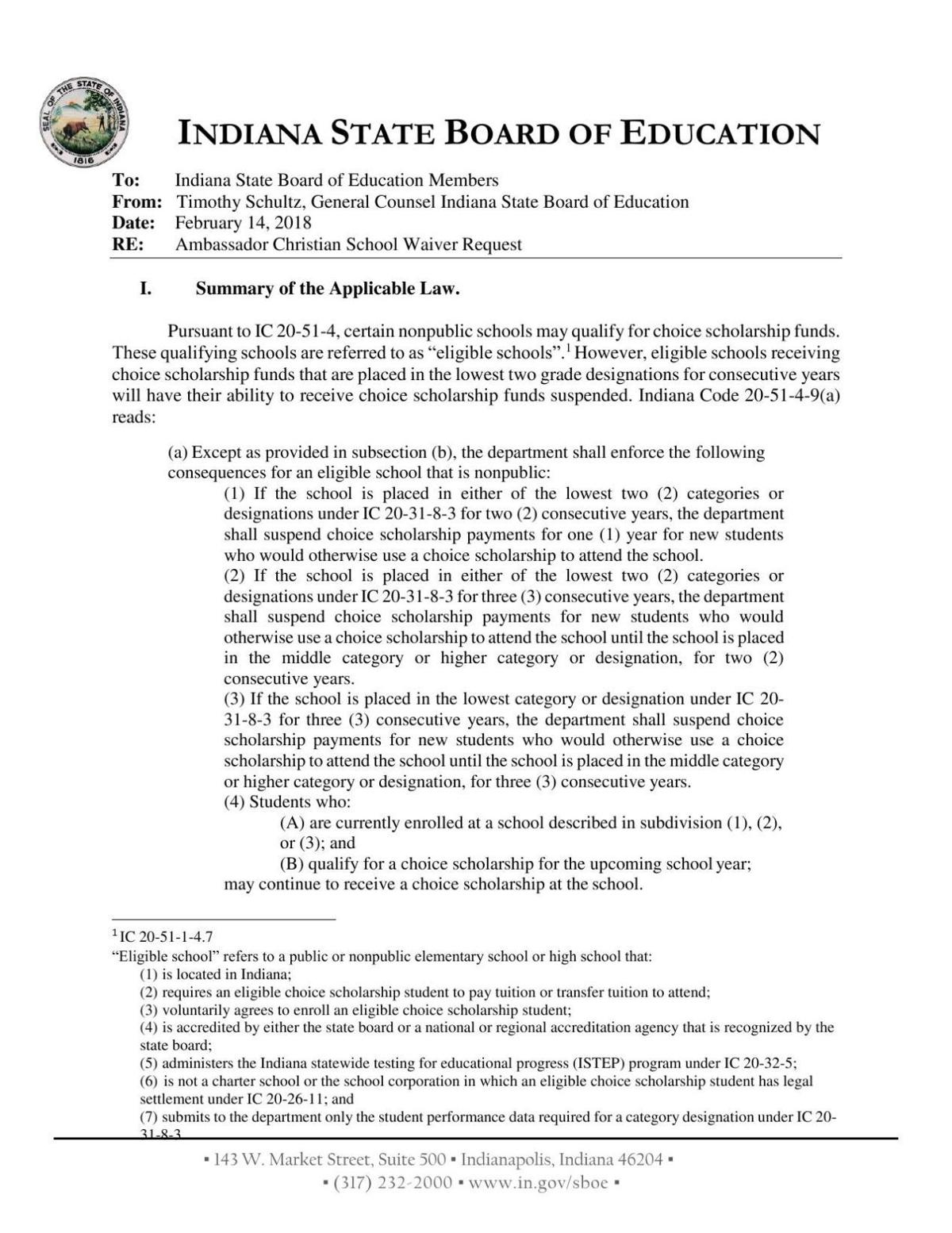 SBOE staff memo on Ambassador Christian Academy waiver request