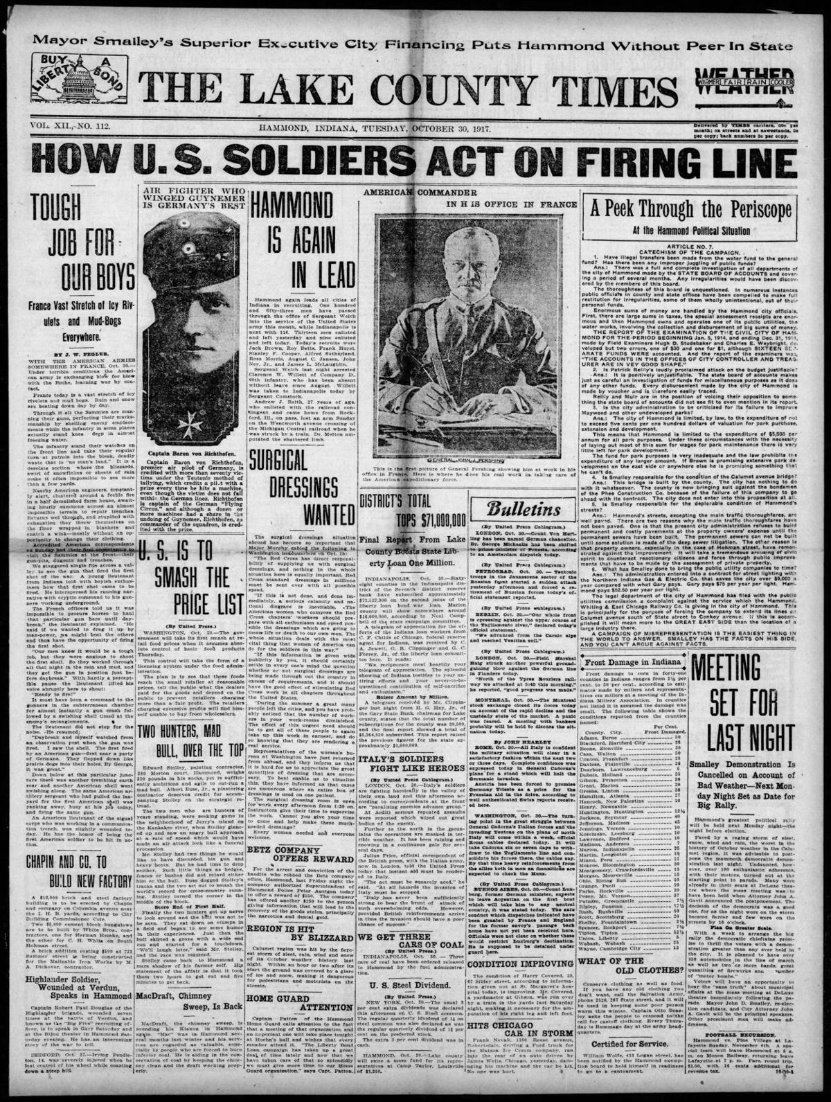 Oct. 30, 1917: How U.S. Soldiers Act On Firing Line
