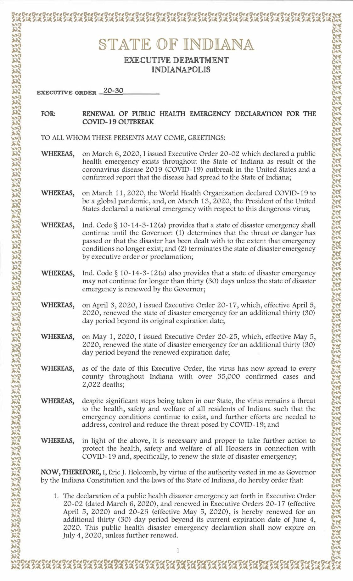 Gov. Eric Holcomb Executive Order 20-30 extending COVID-19 emergency until July 4