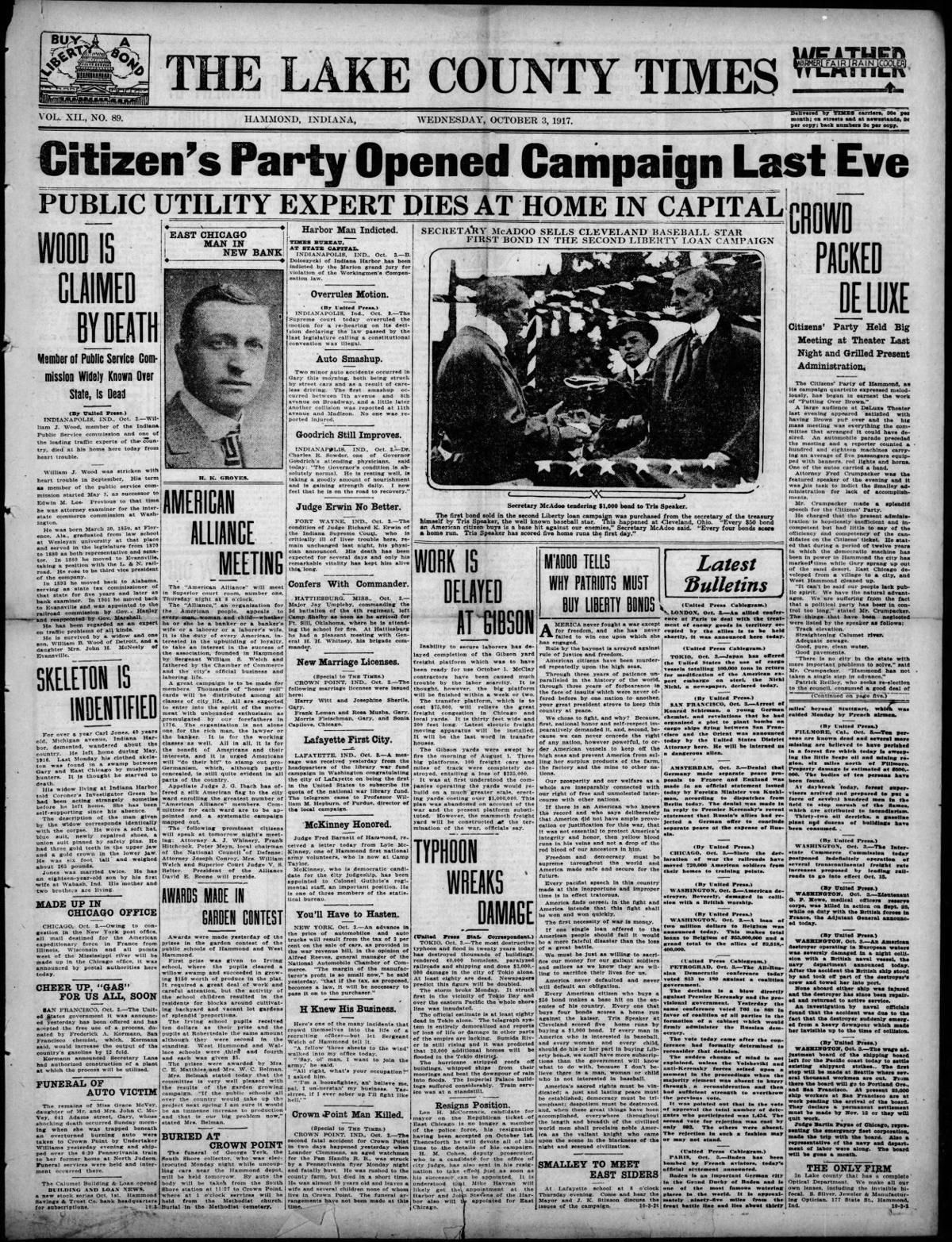 Oct. 3, 1917: Citizen's Party Opened Campaign Last Eve