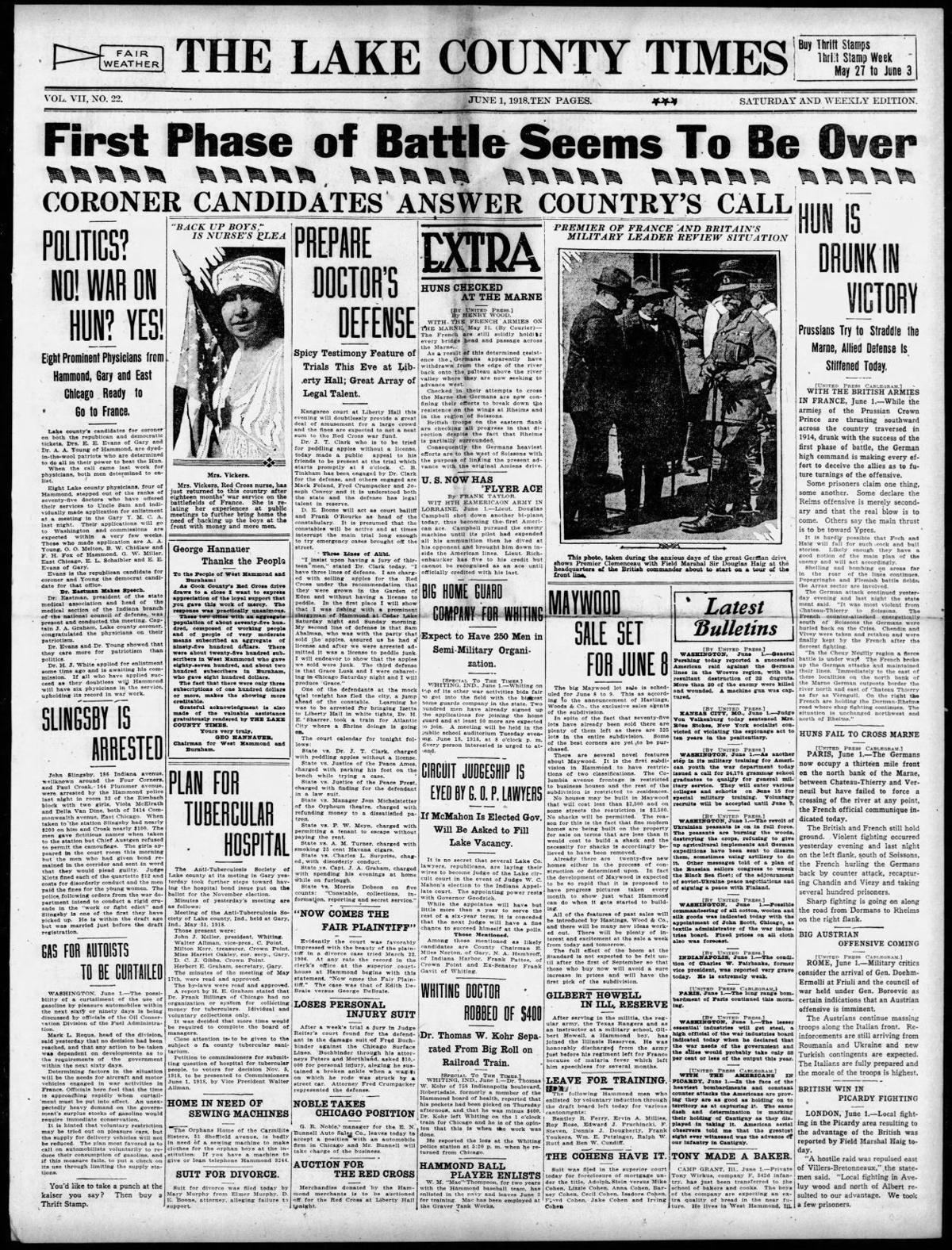 June 1, 1918: Coroner Candidates Answer Country's Call