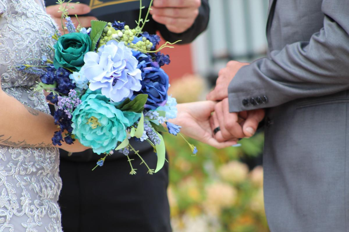 Couple ties the knot at new Crown Point legacy brick patio