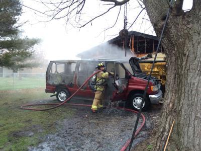 Van fire in Merrillville