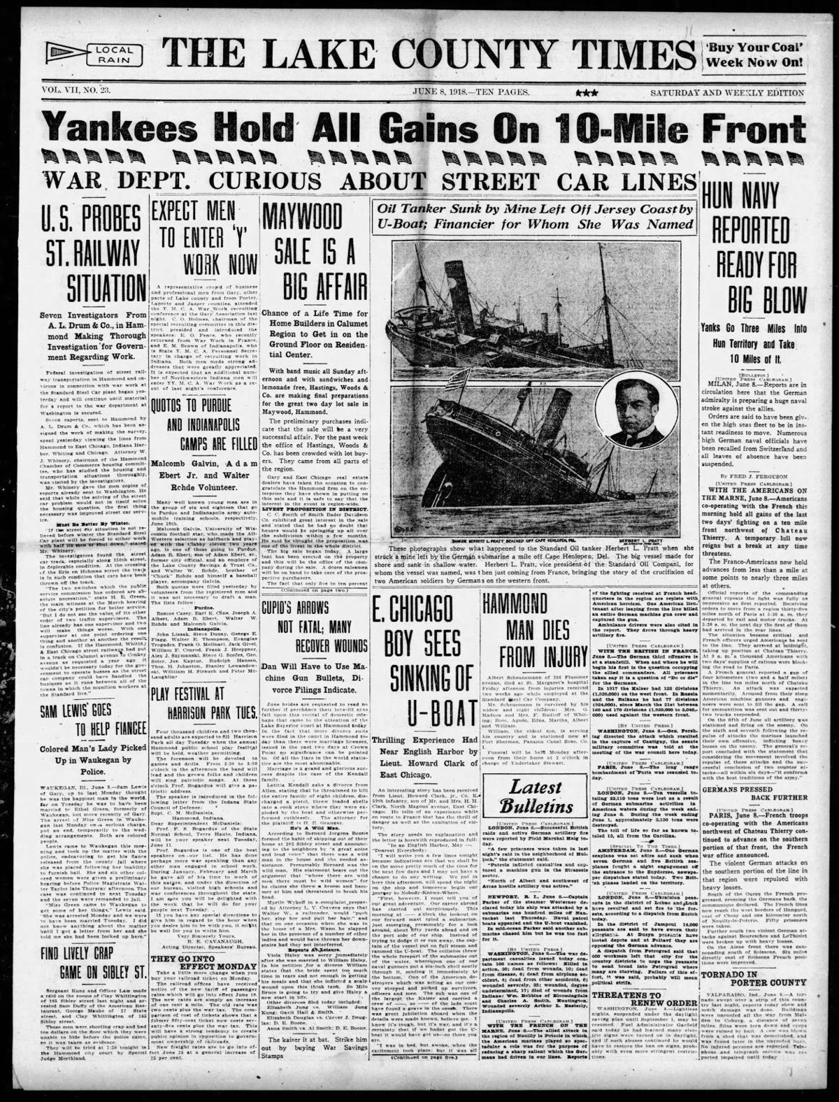 June 8, 1918: War Dept. Curious About Street Car Lines