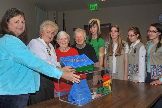 Girls Scouts open time capsule at Hammond Public Library