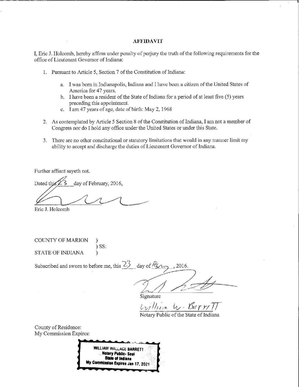 Eric Holcomb affidavit of eligibility to serve as lieutenant