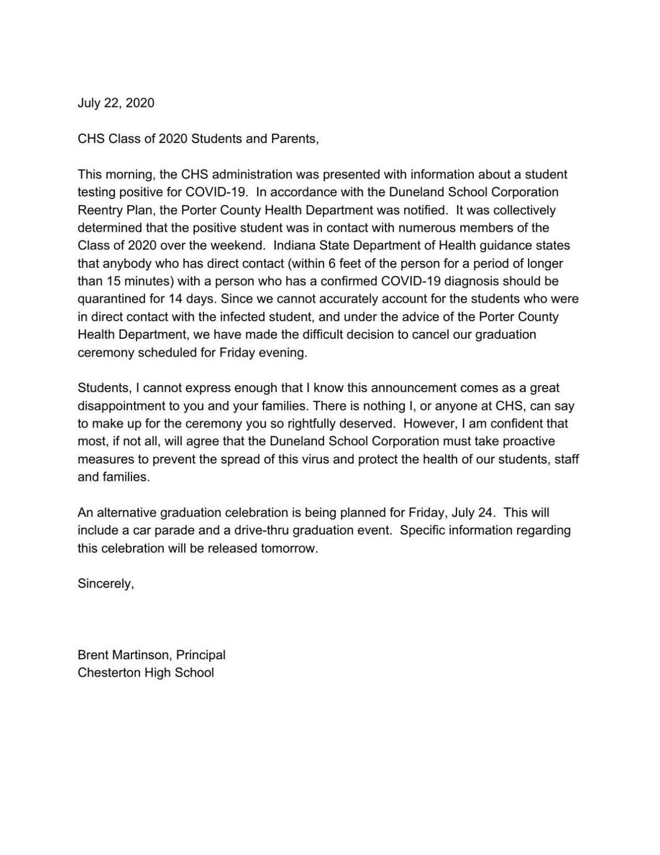 Chesterton High School 2020 graduation cancellation letter