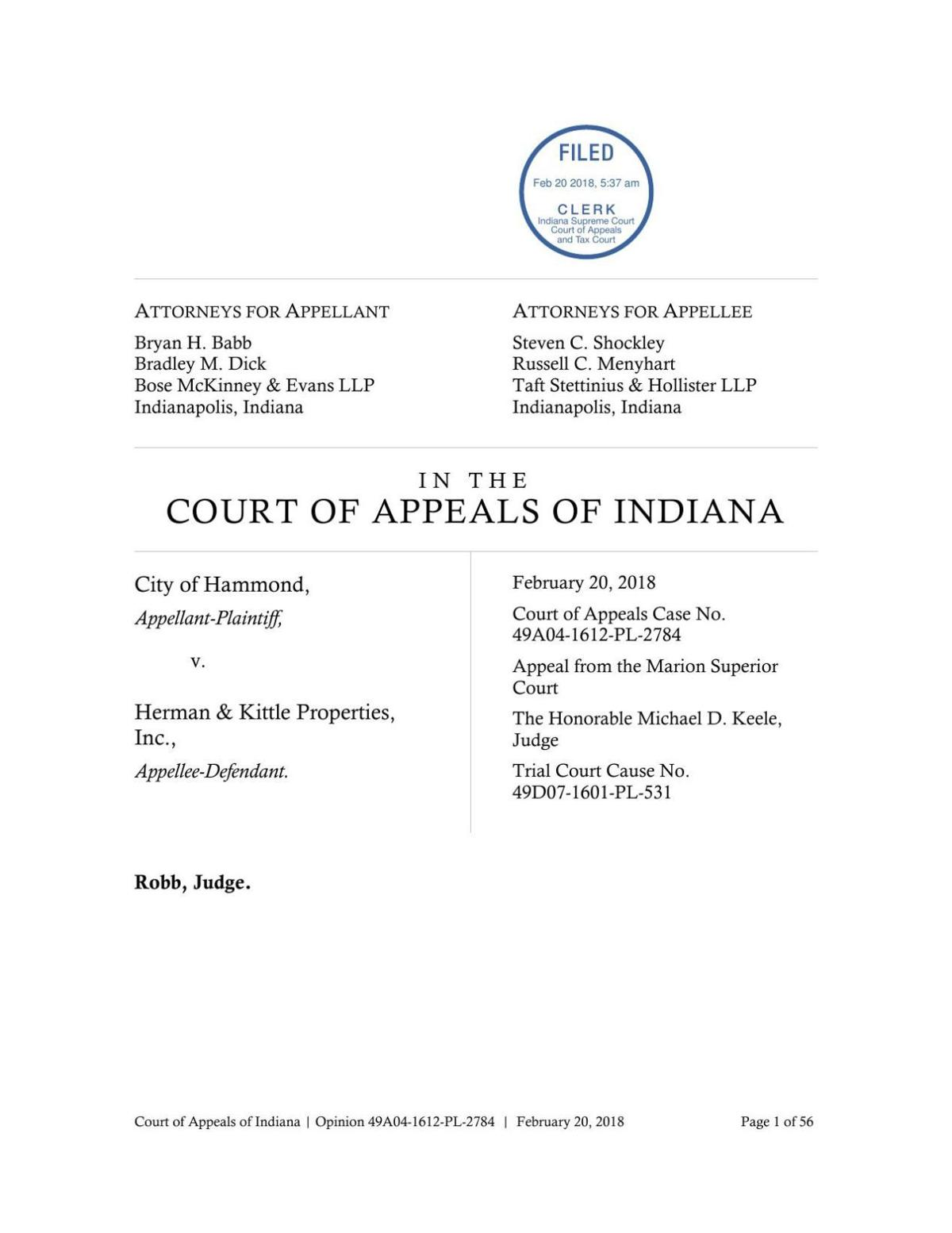Hammond v. Herman and Kittle ruling of Indiana Court of Appeals