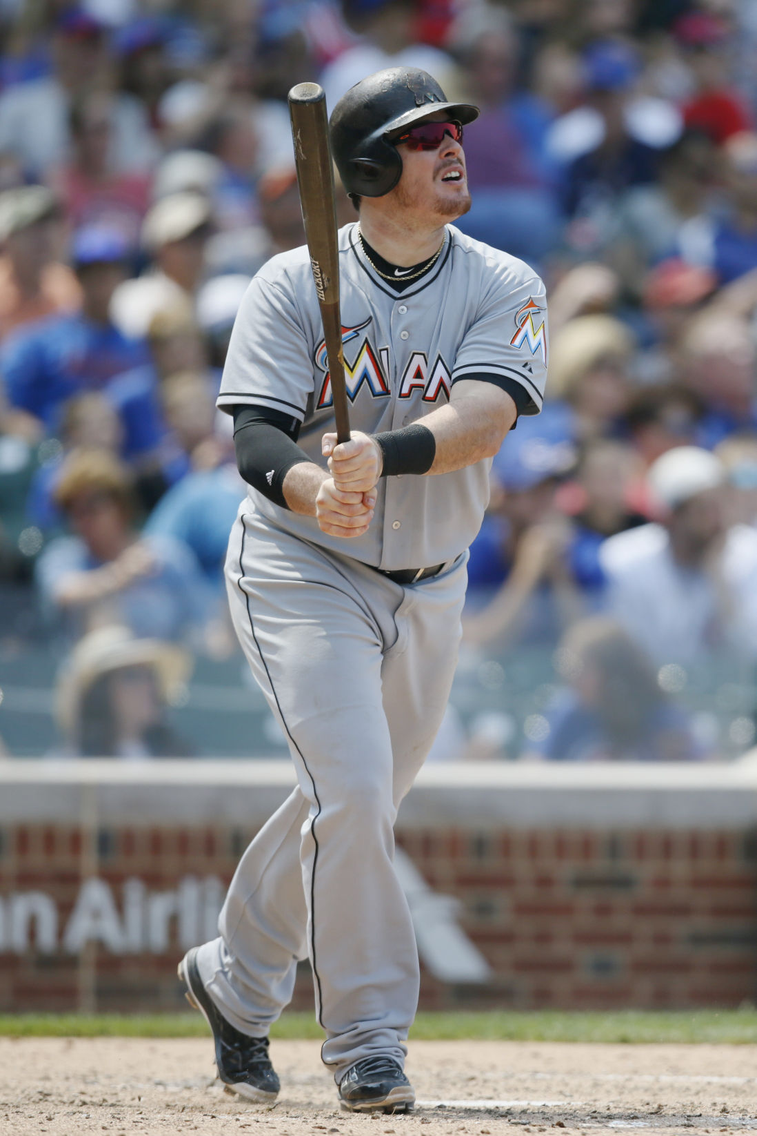 8d90bc02 Justin Bour. Miami Marlins first baseman Justin Bour hits a solo home run  against the Cubs during the sixth inning ...