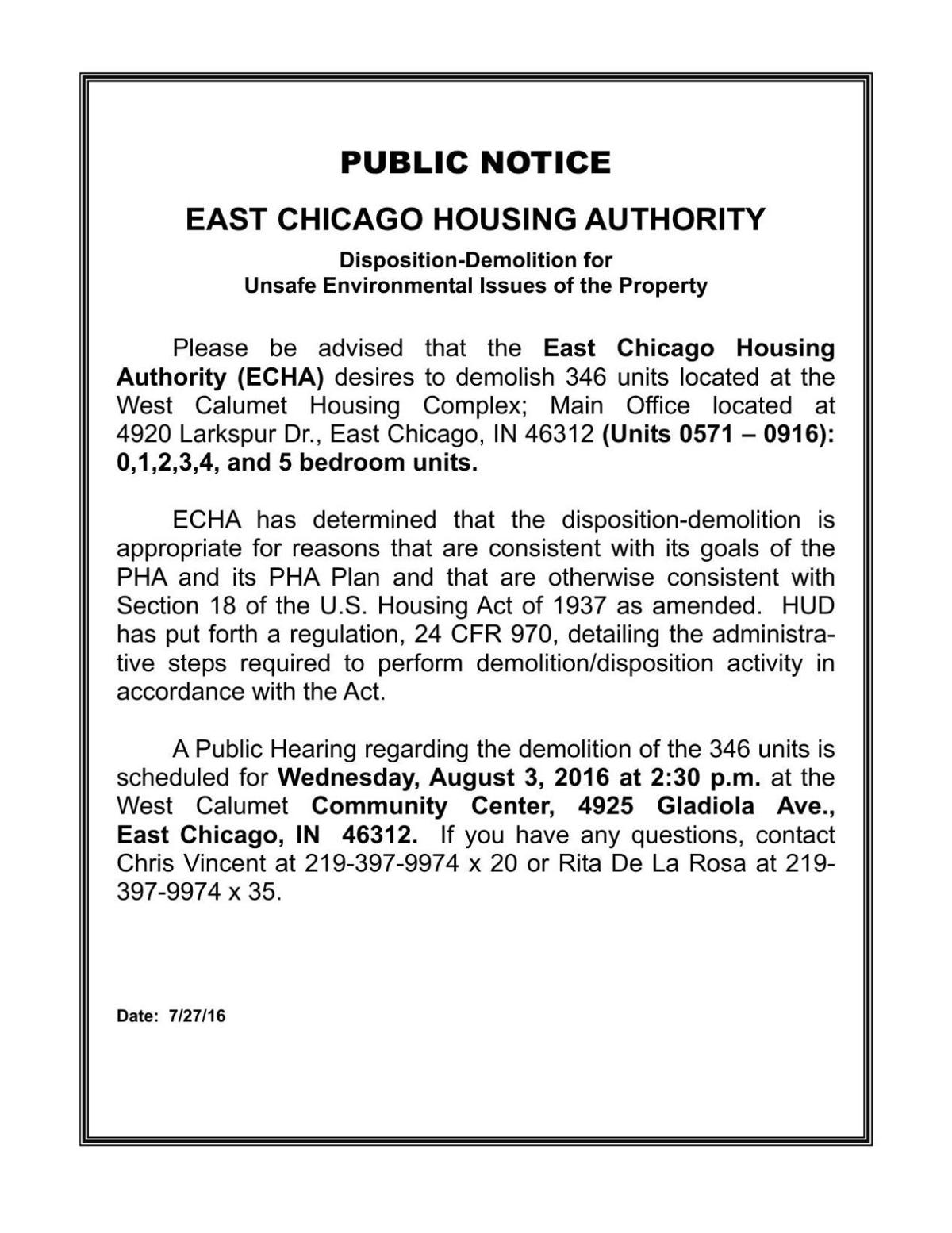 2016 ECHA public notice of meeting