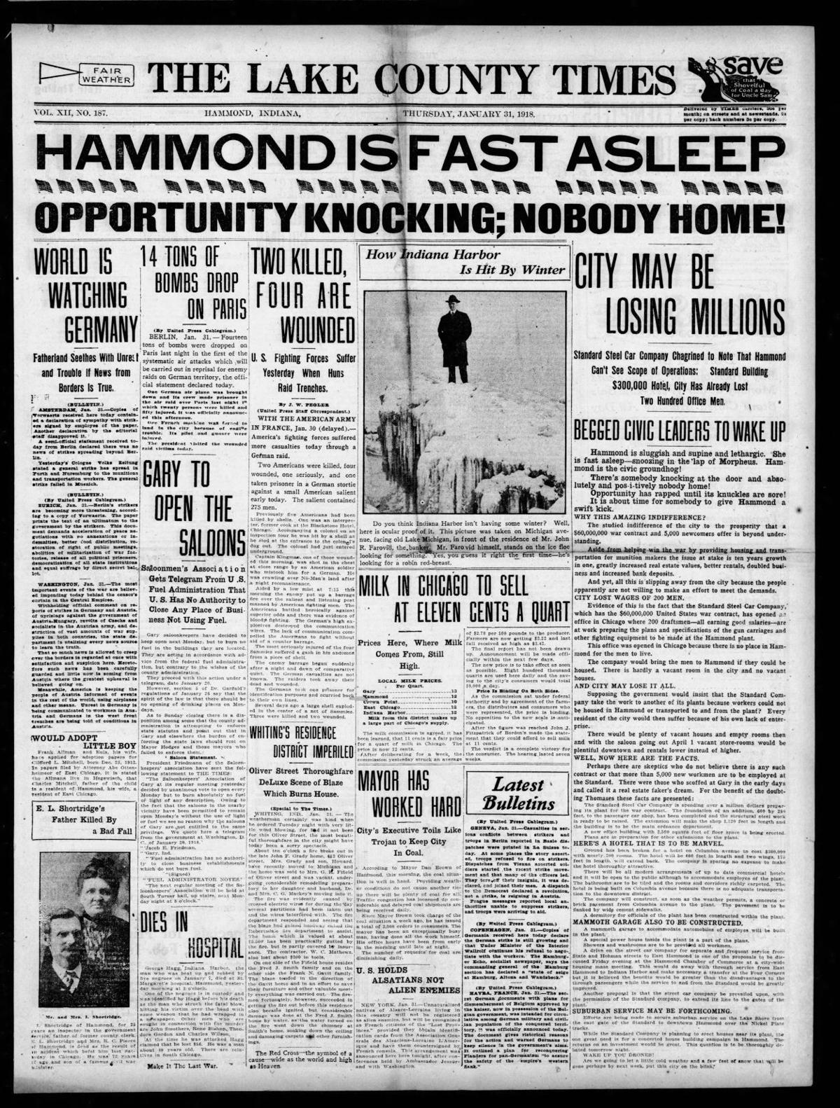 Jan. 31, 1918: Hammond Is Fast Asleep