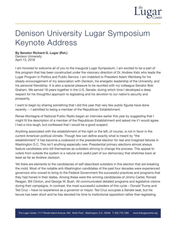 Lugar Symposium Keynote Address at Denison University