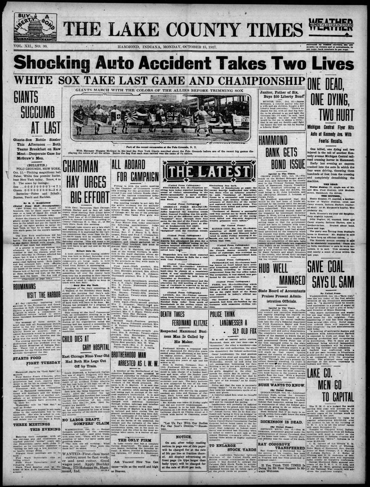 Oct. 15, 1917: White Sox Take Last Game And Championship