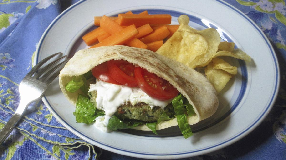 Food KitchenWise Spinach And Feta Burgers With Cucumber Yogurt Sauce