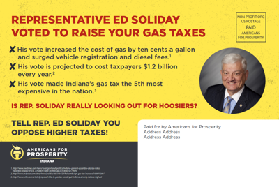 Anti-tax group targets Soliday for leading Indiana's road funding effort