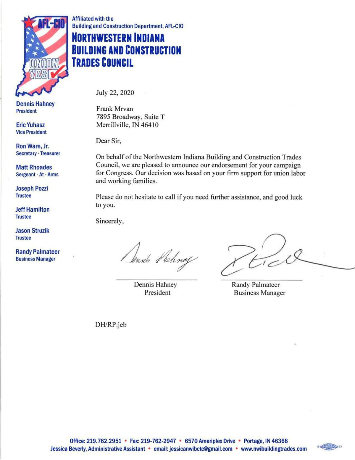 Northwestern Indiana Building and Construction Trades Council endorsement letter