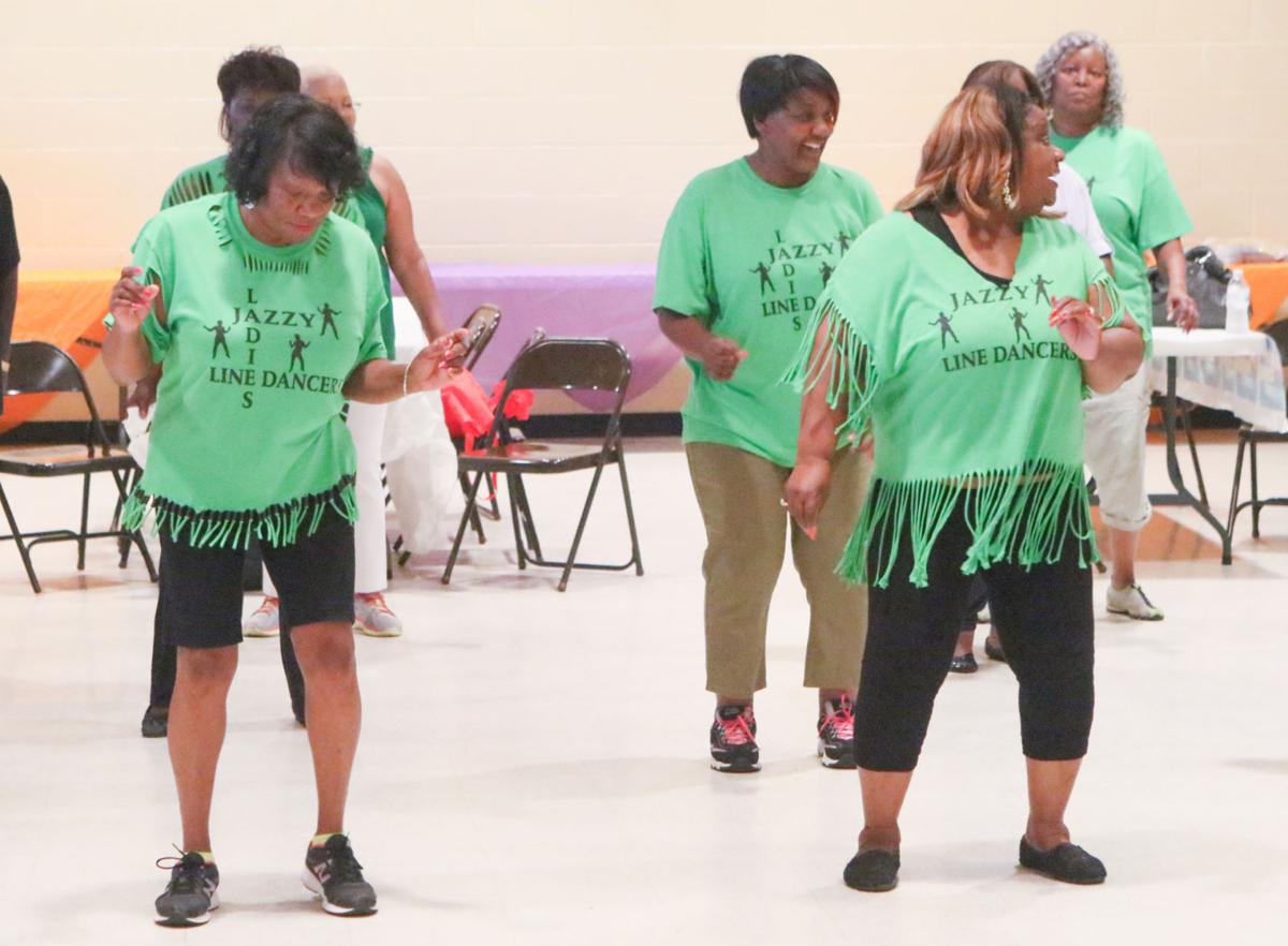 Line dancing class taught by Maxine Simpson