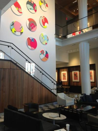 Lobby and Featured Grand Staircase Art Display at Le Meridien Columbus, The Joseph in Columbus, Ohio