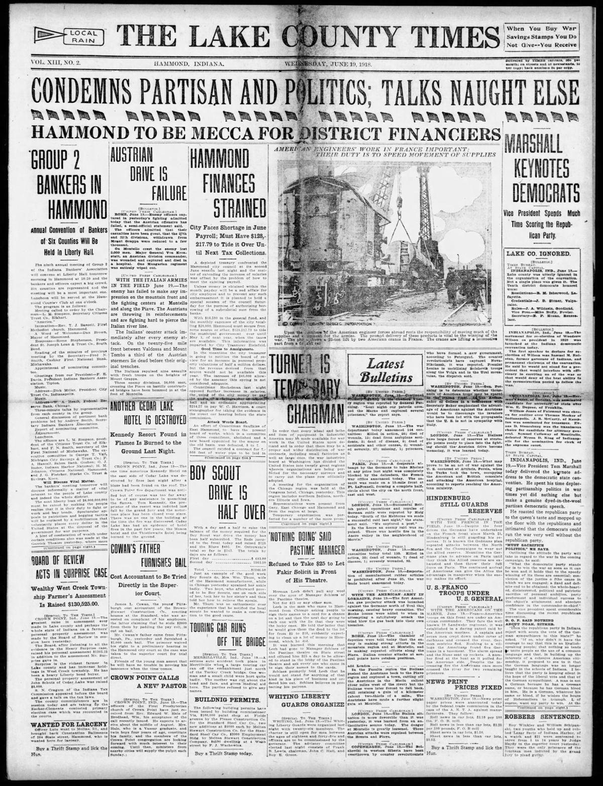 June 19, 1918: Another Cedar Lake Hotel Is Destroyed