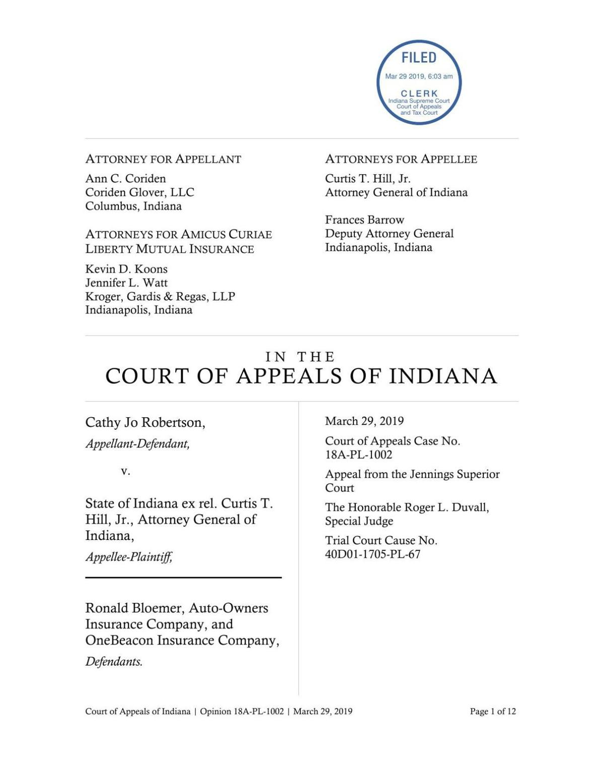 Robertson v. State ruling of Indiana Court of Appeals (Jennings County)