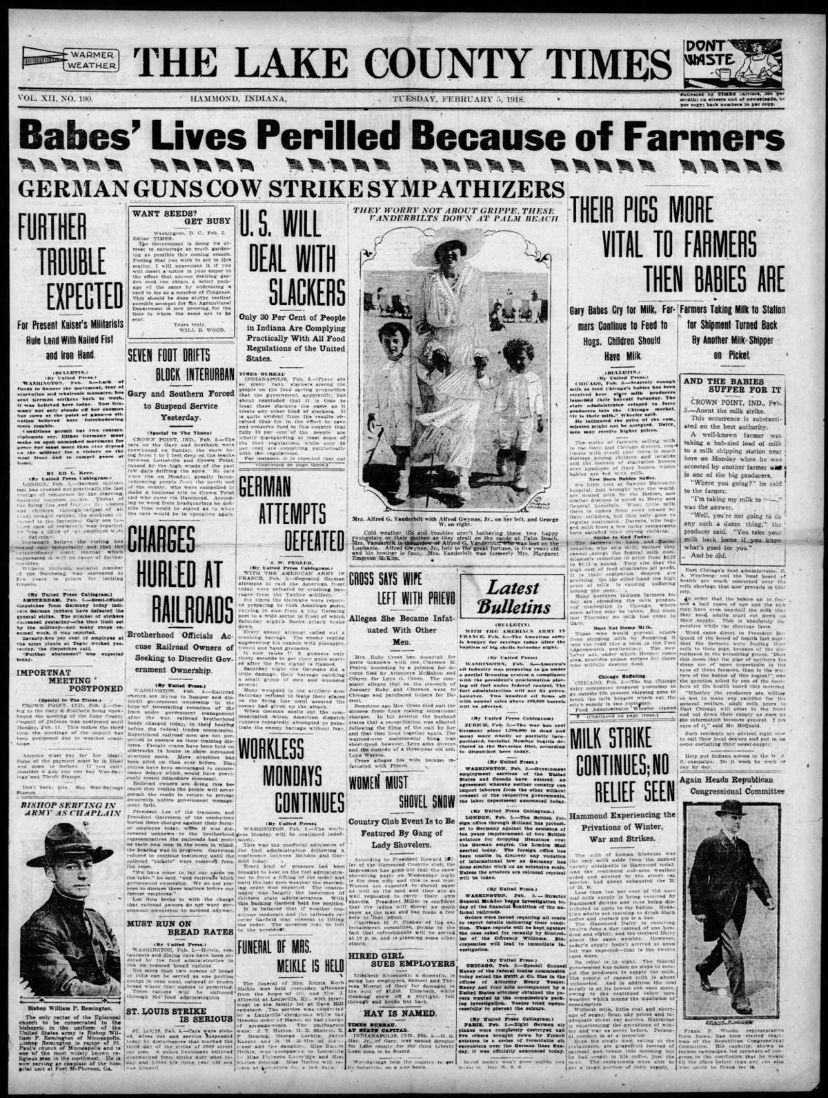 Feb. 5, 1918: Babes' Lives Periled Because of Farmers