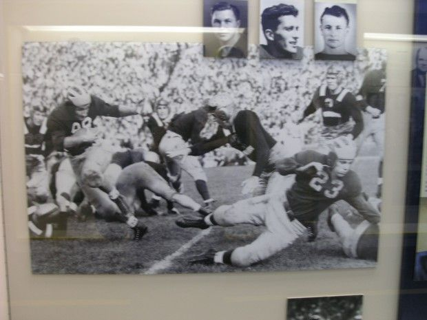 Tom Harmon Heisman display at Schembechler Hall