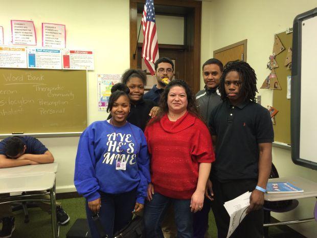 Alenna Ruiz with students from Hammond High.JPG