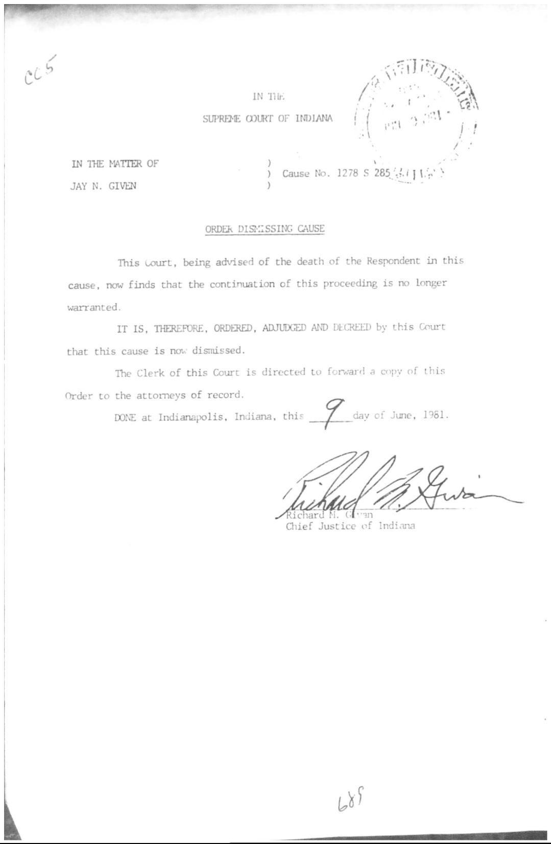 Given order dismissing case