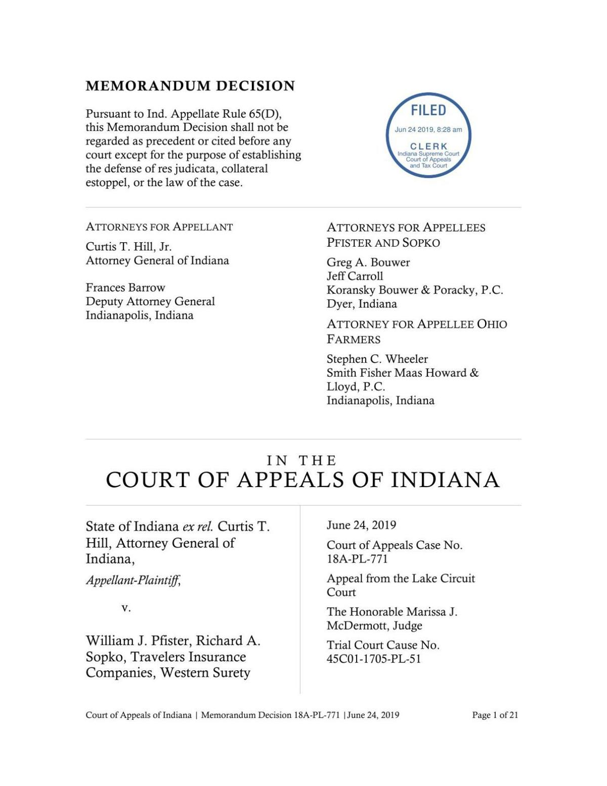 State v. Pfister and Sopko ruling of Indiana Court of Appeals