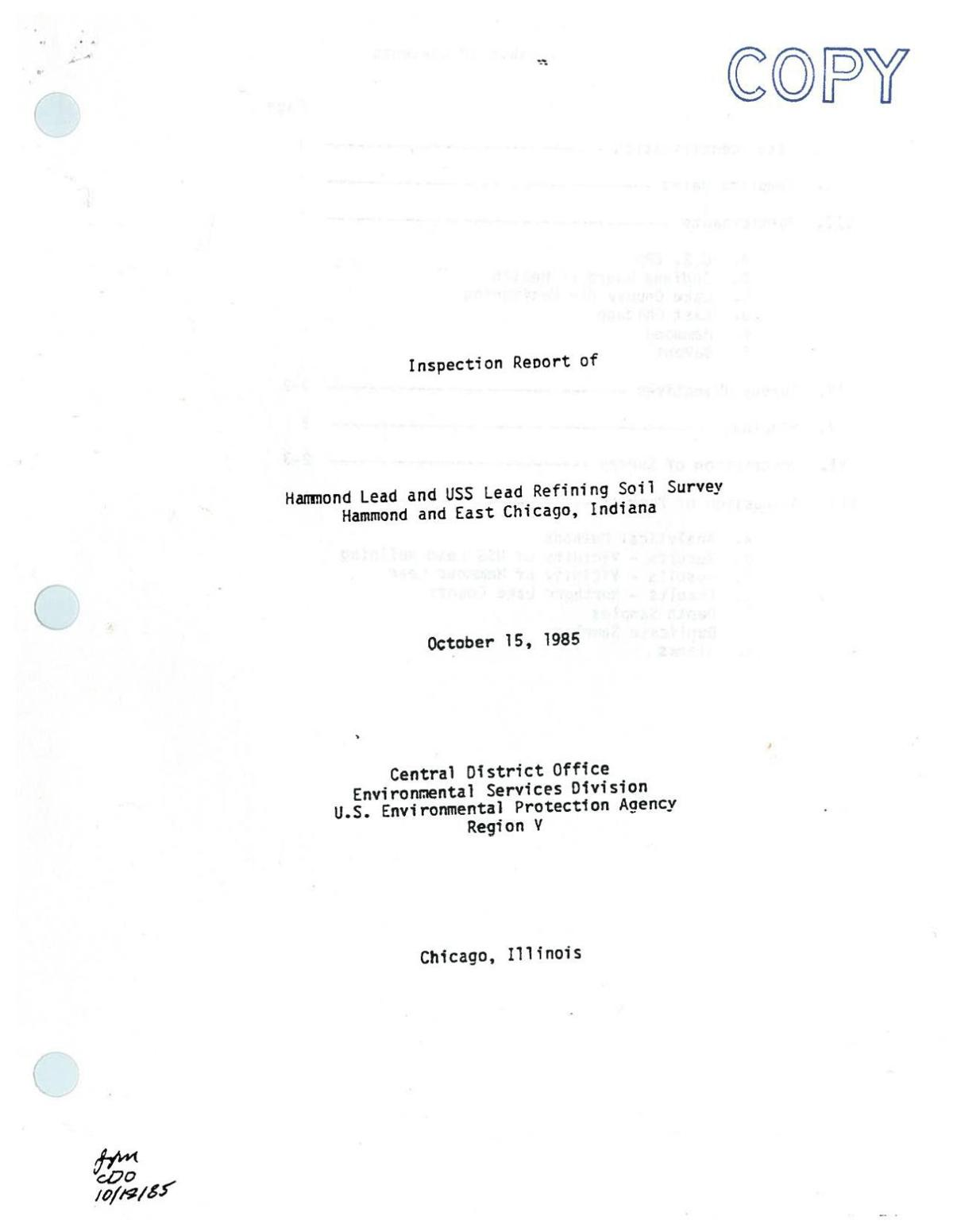 1985 IDEM inspection report