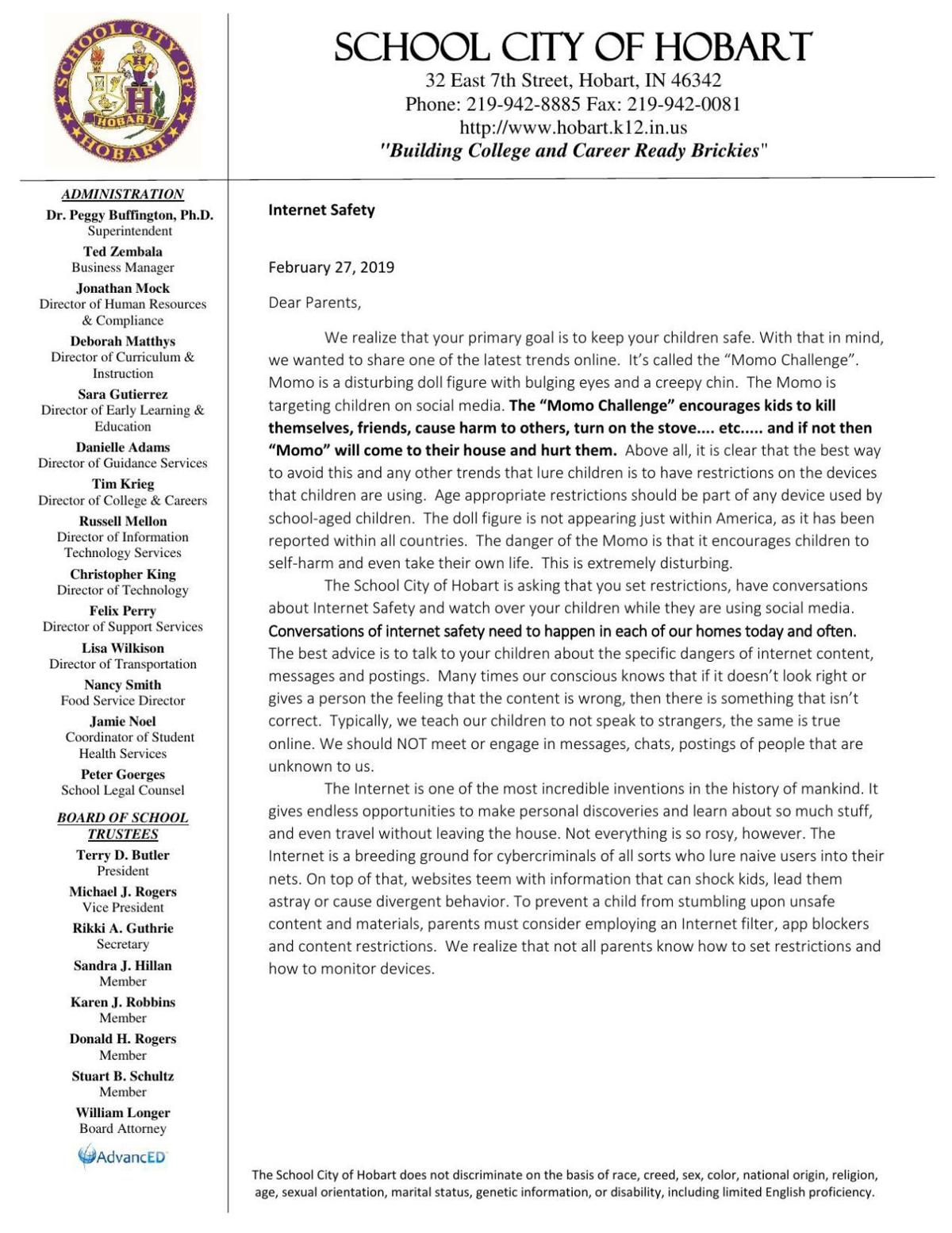 School City of Hobart letter to parents about Momo Challenge