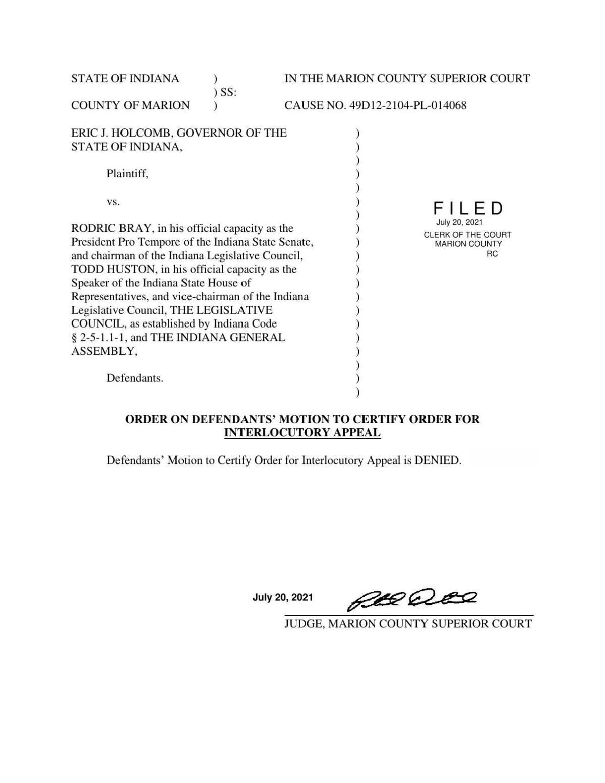Holcomb v. Bray order on interlocutory appeal