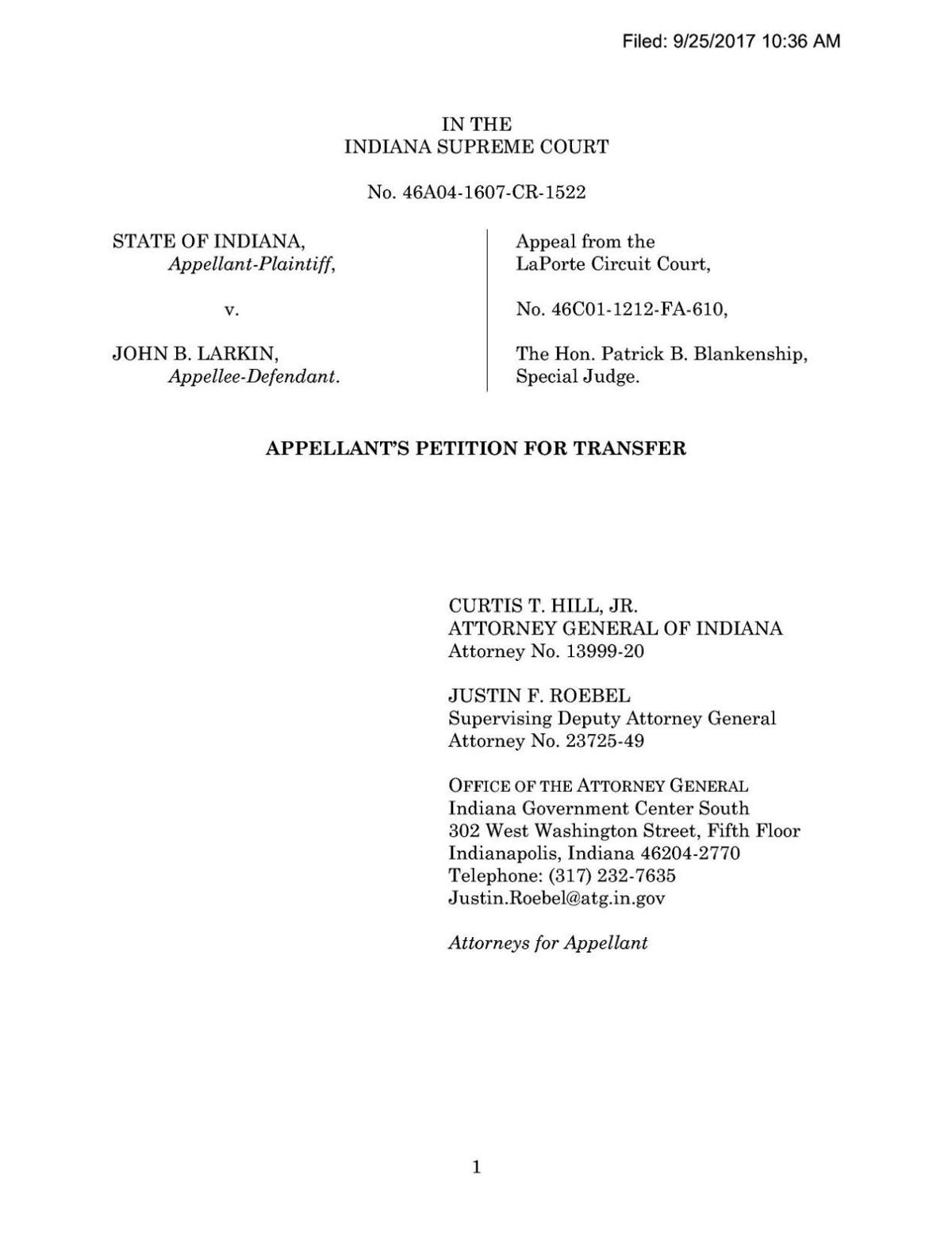 State's petition for transfer to Indiana Supreme Court in State v. Larkin