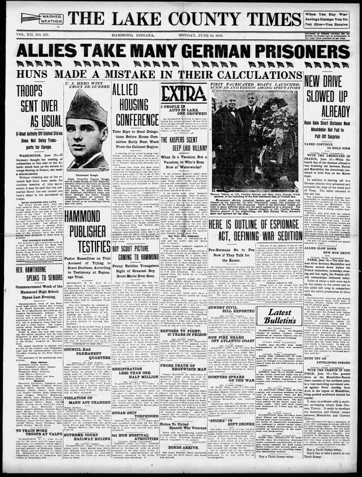 June 10, 1918: Here Is Outline Of Espionage Act, Defining War Sedition