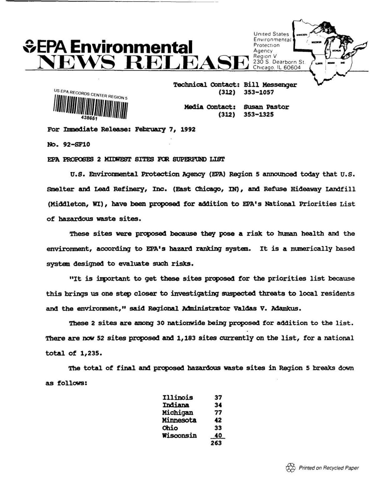 1992 EPA release on Superfund proposals