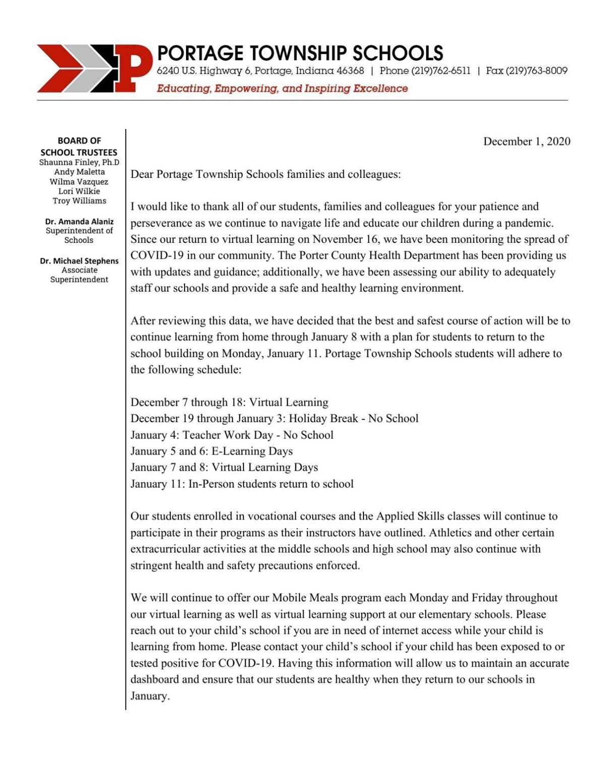 Portage Township letter Dec. 1, 2020