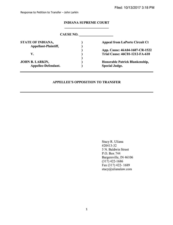 Larkin's response to state transfer petition in State v. Larkin