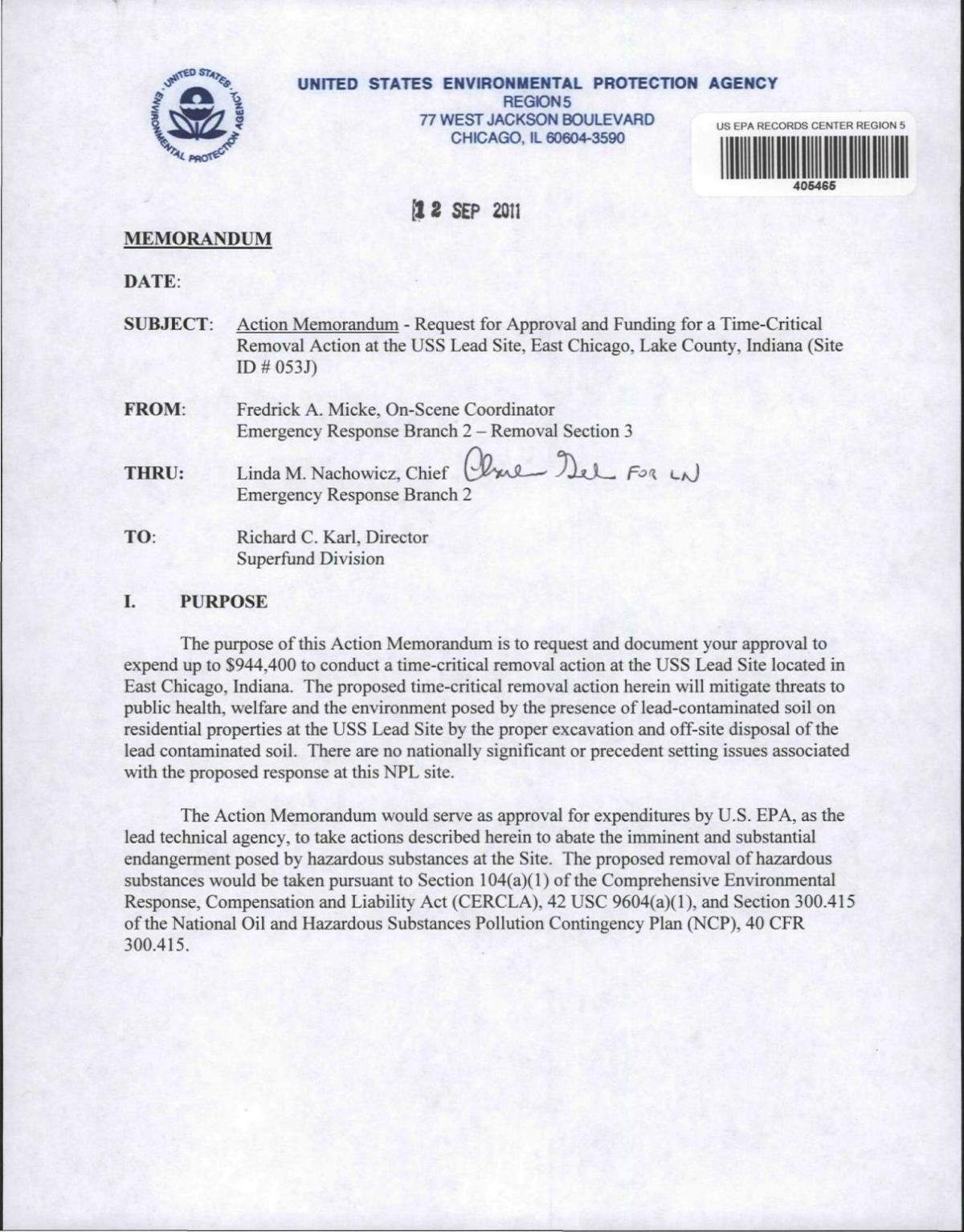 2011 EPA request for removal action
