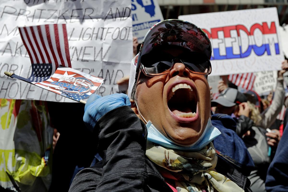 APTOPIX Virus Outbreak Illinois Protest
